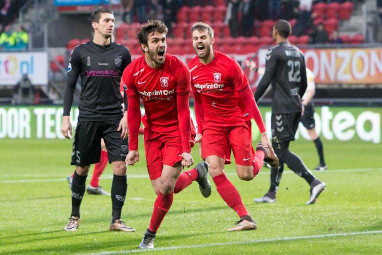 Bruno Uvini van FC Twente vier zijn doelpunt. Beeld anp