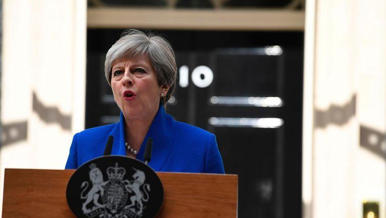 May geeft een toespraak op Downing Street. Beeld afp