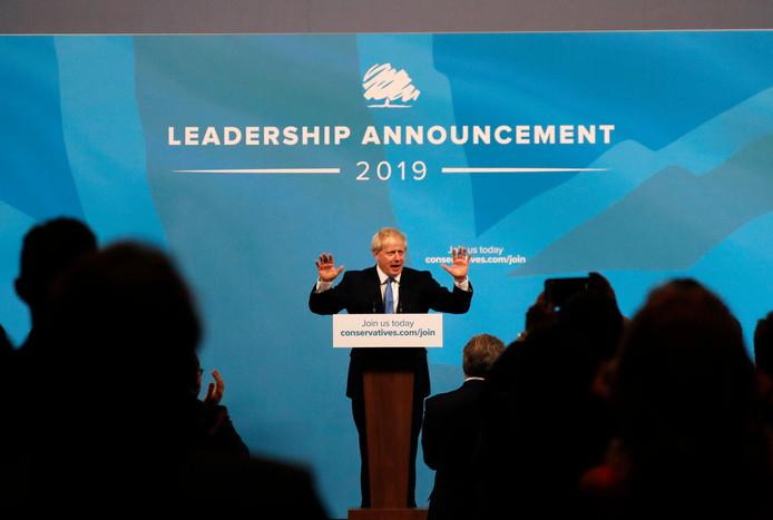 De nieuwe premier van Groot-Brittannië, Boris Johnson, geeft een speech na de bekendmaking van zijn overwinning.