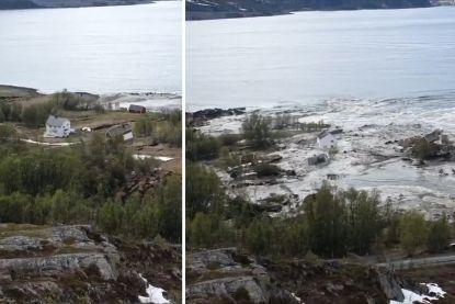 """Aardverschuiving in noorden van Noorwegen sleurt huizen de zee in: """"Heb gerend voor mijn leven"""""""