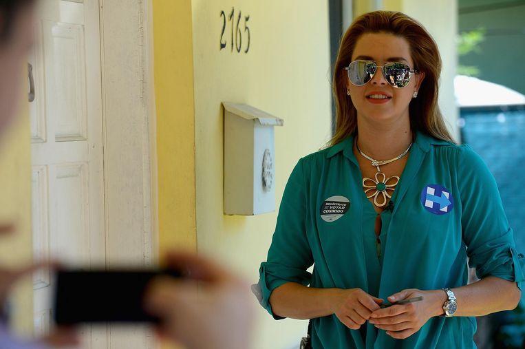Alicia Machado voet campagne voor Hillary Clinton. Beeld afp