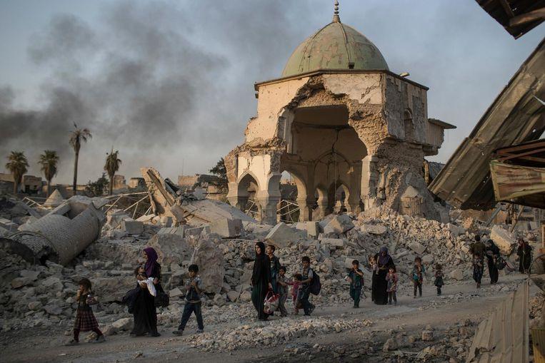 De oude stad van Mosul is na acht maanden strijd volledig verwoest. Beeld Felipe Dana / AFP
