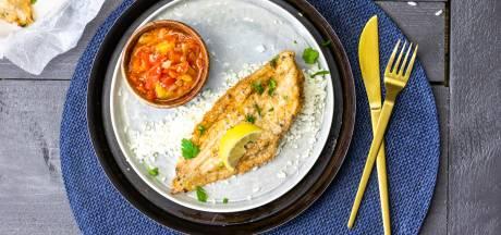 Wat Eten We Vandaag: Gebakken sliptong met charmilla en bloemkoolrijst