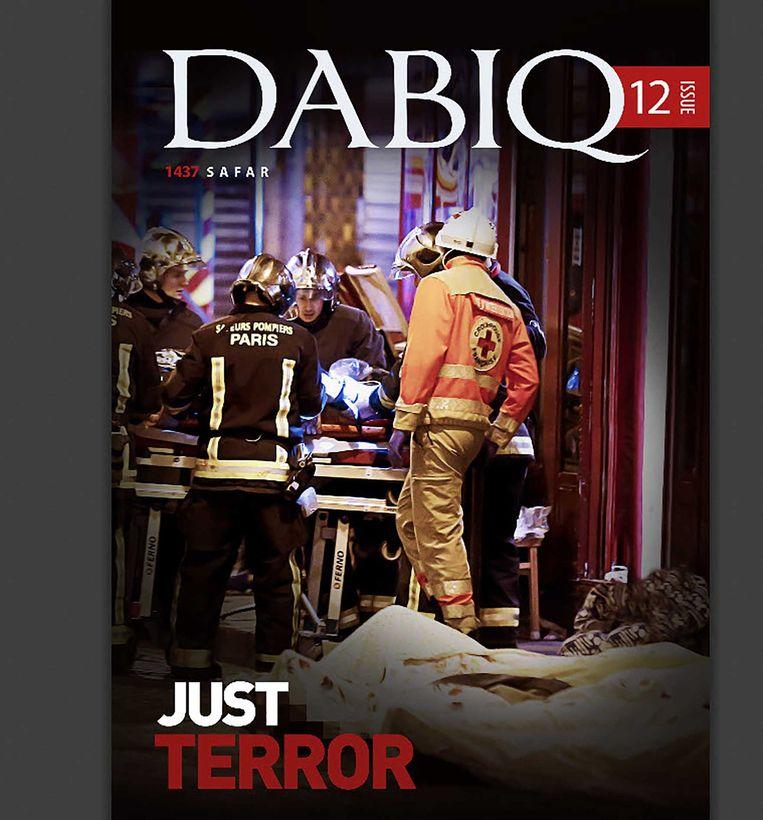 Voorpagina van het nieuwste nummer van Dabiq, een blad vol terreurpropaganda. Beeld