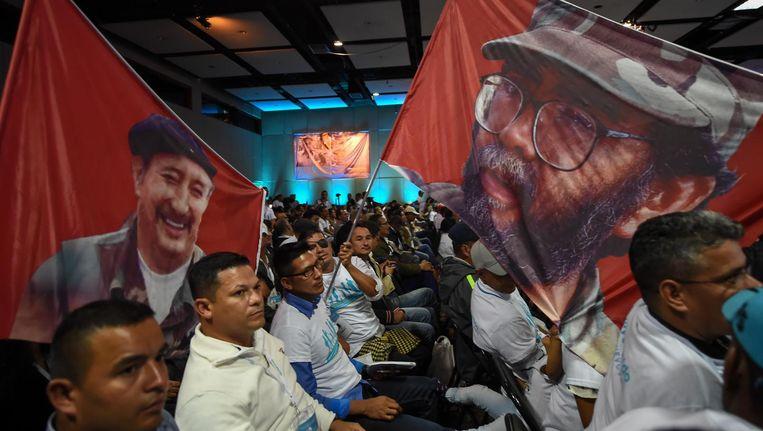 FARC leden op het congres op 27 augustus. Beeld AFP/Getty
