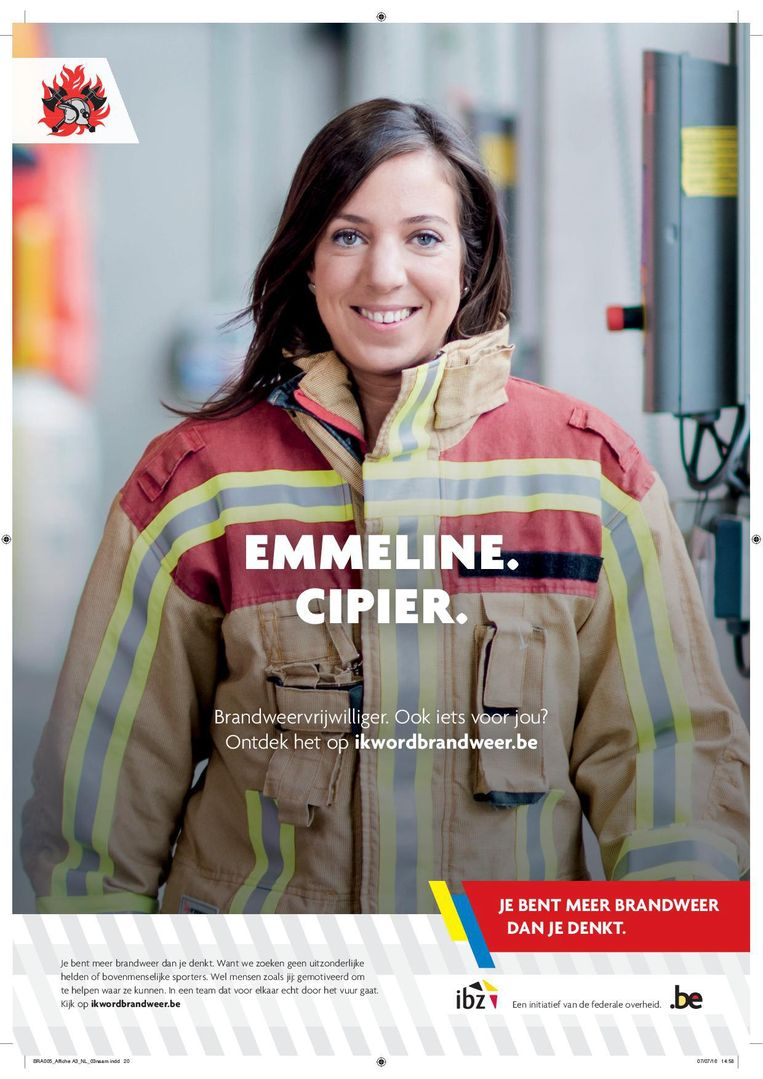 Emmeline Casteleyn was ook al het gezicht van de aanwervingscampagne van de brandweer.