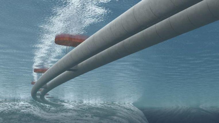 De tunnel hangt vast aan drijvende platformen, ver genoeg uit elkaar geplaatst zodat ze de scheepvaart niet hinderen.