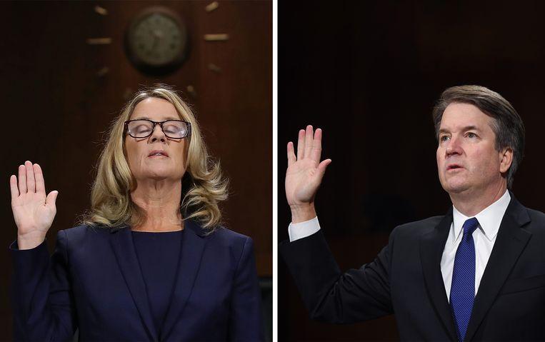Christine Blasey Ford en Brett Kavanaugh leggen de eed af voordat ze hun verklaringen geven tijdens de hoorzitting in de Senaat. Beeld Getty, AP