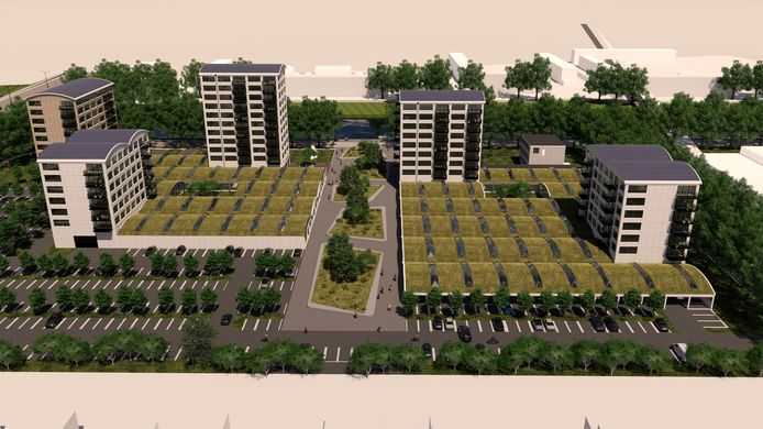 De vijf wooncomplexen op de Galvanitashallen. In het midden een groene boulevard richting het Wilhelminakanaal.