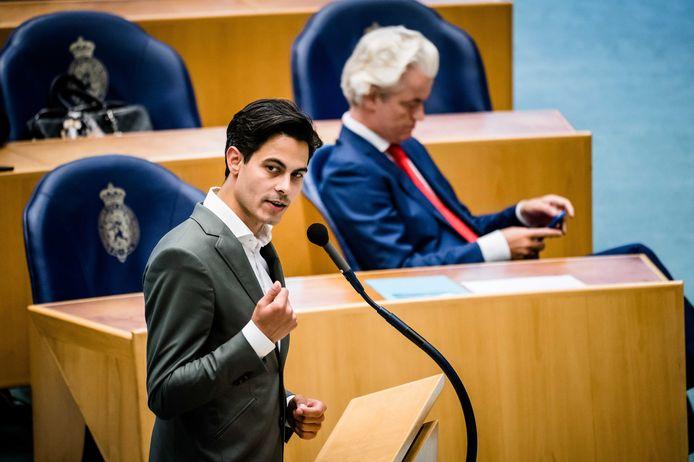 Rob Jetten (D66) en Geert Wilders (PVV) tijdens het wekelijkse vragenuur in de Tweede Kamer.