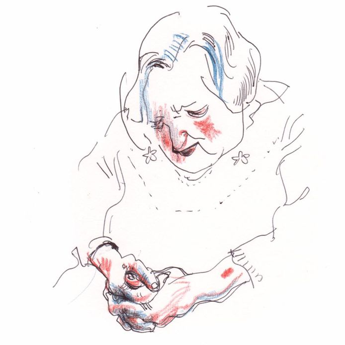 Eén van de vele tekeningen die Jeroen Janssen maakte van Marcella.