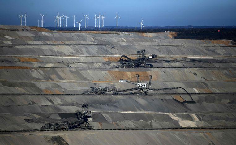 Een bruinkoolmijn in de buurt van het Duitse Buir. Beeld AFP