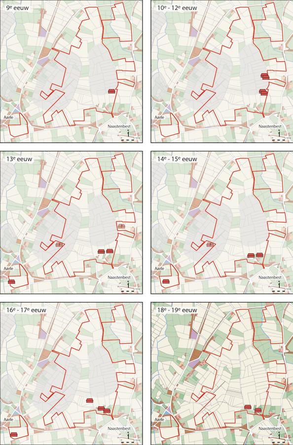 Overzicht van de verplaatsing van de nederzettingen door de eeuwen heen