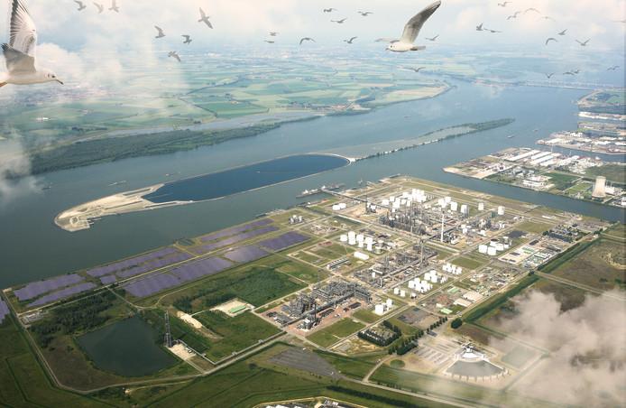 Op een nu nog ongebruikt stuk van Shell Moerdijk aan het Hollandsch Diep komt dit jaar het zonne-energiepark.