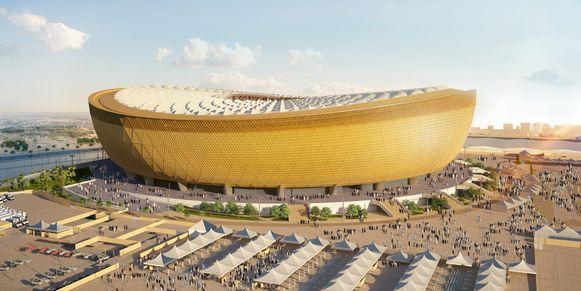 Een computerbeeld van het Lusail Stadion.