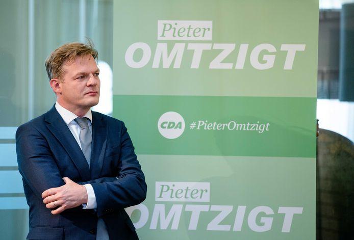 Pieter Omtzigt  tijdens de voordracht van de lijsttrekkerskandidaten van het CDA.