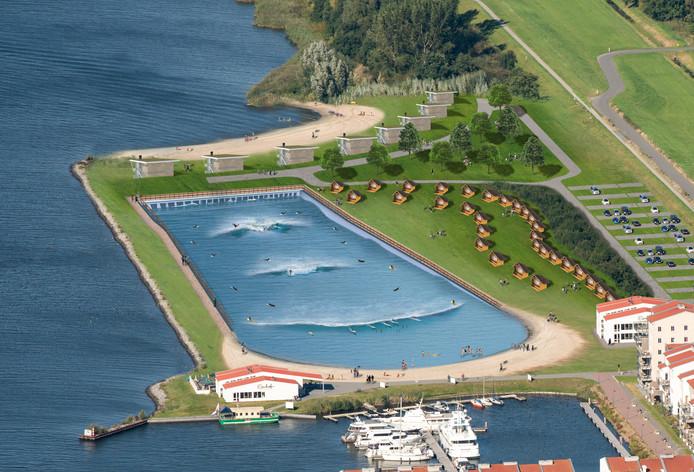 Artist Impression van de Wavepool aan het Eemmeer in Zeewolde, naast De Eemhof.