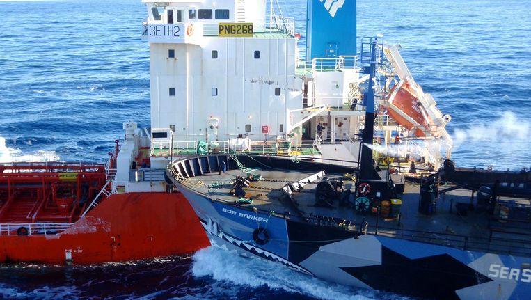 Beelden van een actie van Sea Shepherd vorig jaar februari. Beeld AP