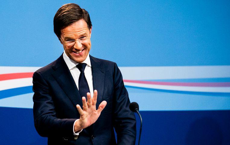 Minister-president Mark Rutte tijdens de persconferentie na afloop van de wekelijkse ministerraad Beeld null