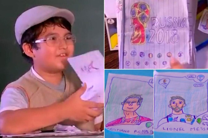 De 8-jarige Pedro uit Brazilië tekende zelf de voetbalplaatjes na.