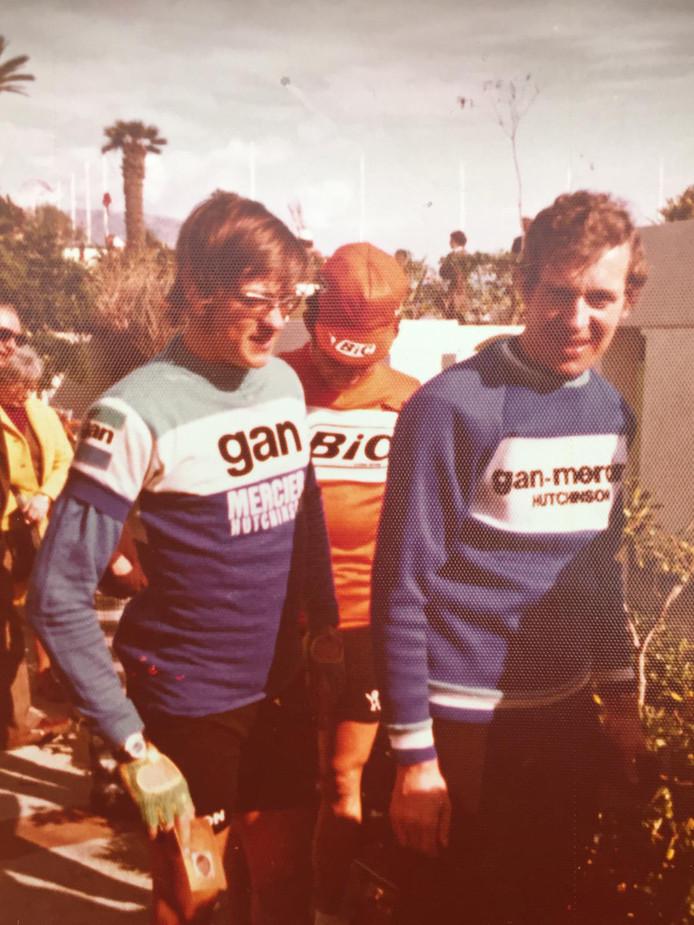 Gerard Vianen (rechts) en Gerrie Knetemann in de tijd dat ze samen in de Franse Gan-Mercierploeg fietsten.