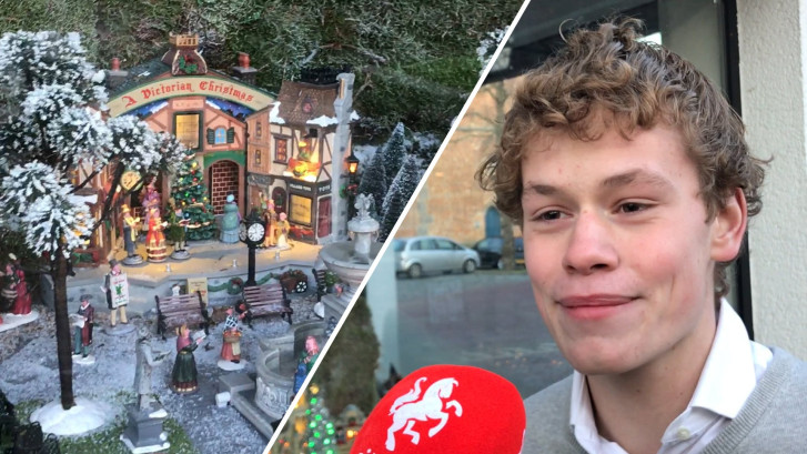 Thomas (19) uit Losser tovert etalage om tot kerstdorp