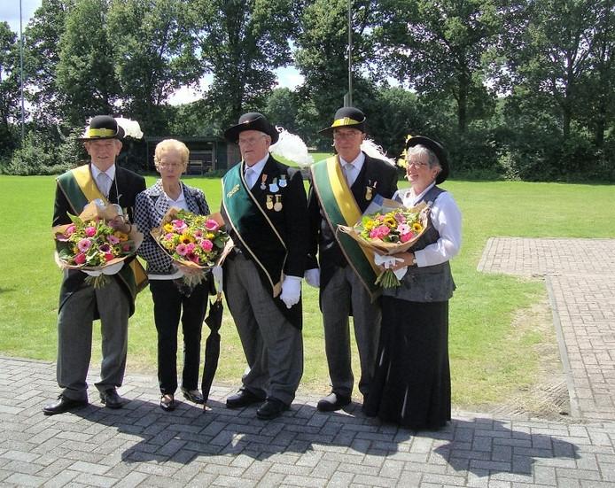 Drie jubilarissen gilde Steensel. Van links naar rechts op de foto: Ton Stravens, Noud Bierens en Paul Jansen