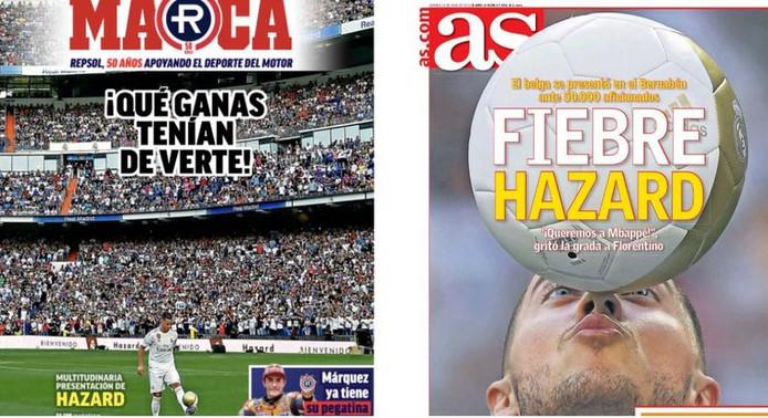 La presse madrilène s'enflamme pour Eden Hazard.