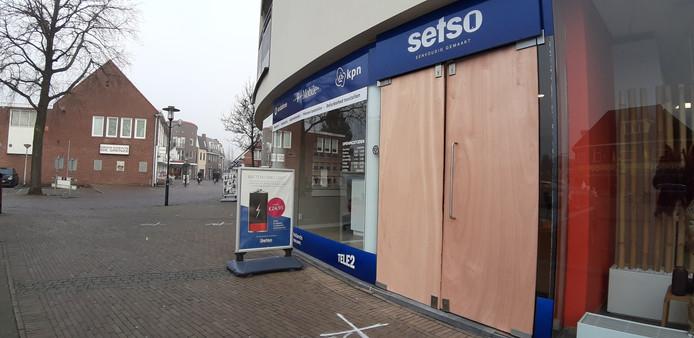 De geramde winkelpui dinsdagochtend