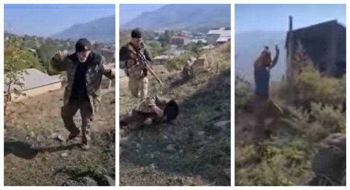 In de eerste video is te zien hoe de twee Armeniërs zich overgeven aan Azerbeidjaanse troepen.