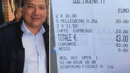 """Toerist krijgt rekening in Venetië en is gechoqueerd: """"43 euro voor 2 kopjes koffie en 2 watertjes, dat is diefstal"""""""