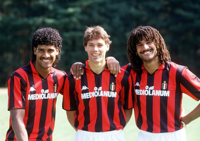 Frank Rijkaard, Marco van Basten en Ruud Gullit bij AC Milan.