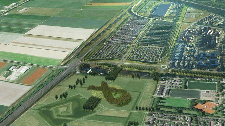 Ontwerp van het MH17 monument zoals straks te zien is vanuit een vliegtuig Beeld Robbert de Koning landschapsarchitect BNT / Duplo Studio