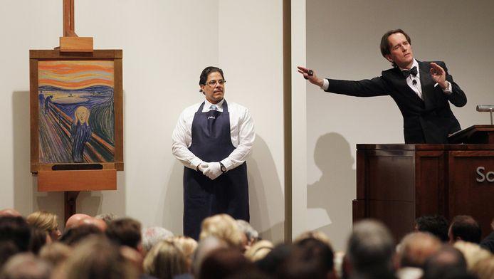 De veiling van De Schreeuw, woensdagavond bij Sotheby's in New York.