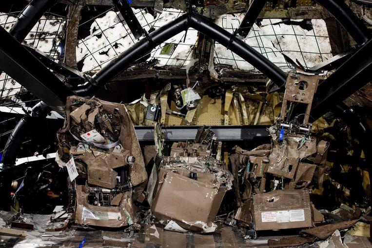 De nagebouwde cockpit van het MH17-toestel in Gilze-Rijen. Beeld anp