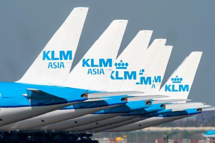 Foto ter illustratie. De vliegtuigen van KLM stonden door de coronacrisis lange tijd aan de grond.