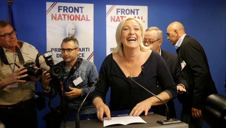 Front National-voorvrouw Marine Le Pen is blij met de uitslag van de verkiezingen.