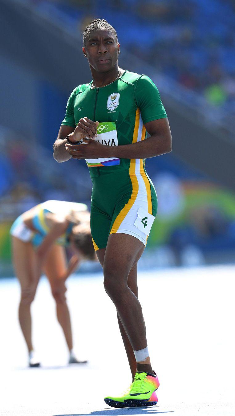 De Zuid-Afrikaanse Caster Semenya tijdens de heats van de 800 meter in Rio. Beeld epa