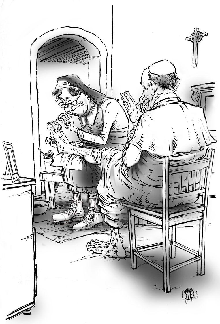 Tekeningen uit het boekje van Rik Felderhof. De pedicure van de paus en de tuinman (of 'tuinnon') van de paus. Ze zijn gemaakt door Jos Thommassen. Beeld Jos Thommassen.