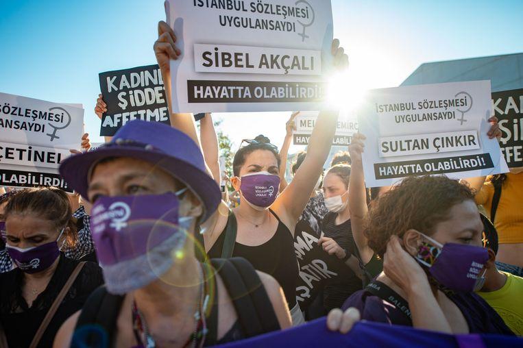 Het debat laait op terwijl het geweld tegen vrouwen in Turkije toeneemt. Beeld AFP