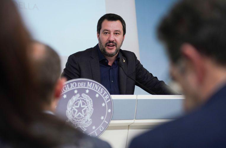 Italiaanse vicepremier en Lega-leider Matteo Salvini tijdens een persconferentie in december 2018. Beeld AP