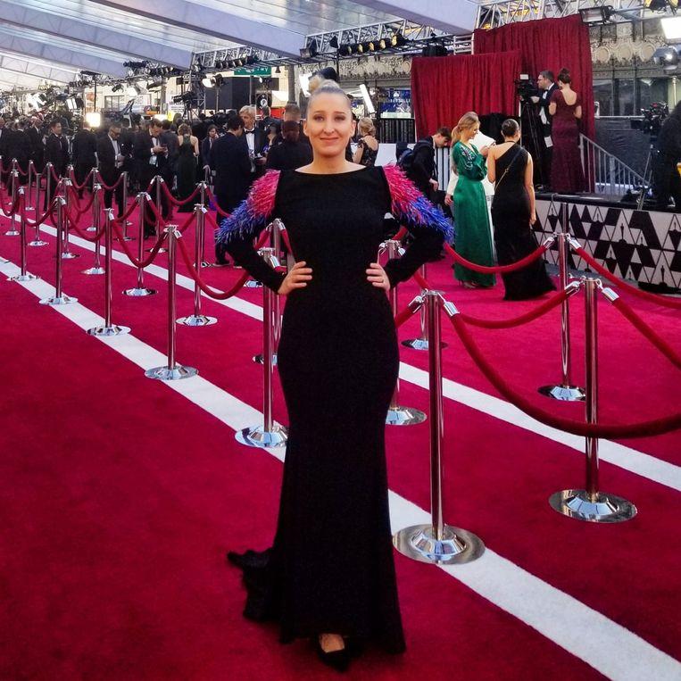 Kristien Gijbels in een ontwerp van Bianca Samyn op de Oscars.
