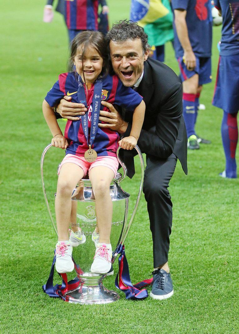 Prachtig vader-dochtermomentje na de gewonnen Champions League in 2015.