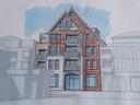 De geplande hoogbouw aan de Grotestraat 180 in Nijverdal.