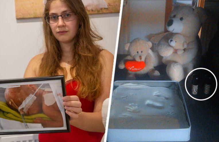 De flesjes rechts op de foto bevatten de assen van Dina.