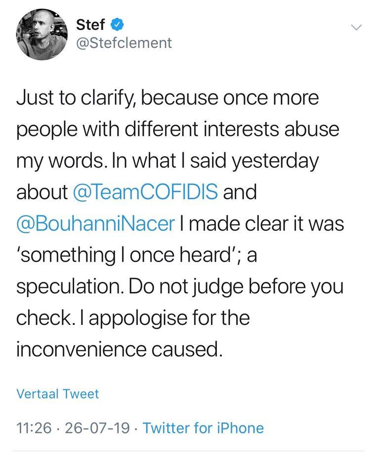 De tweet van Clement.