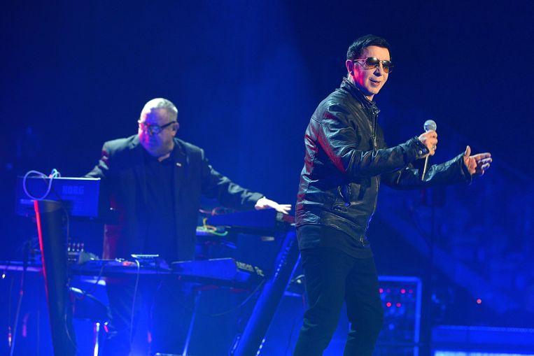 Marc Almond en Dave Ball (Soft Cell) tijdens hun afscheidsshow in Londen.  Beeld Getty Images