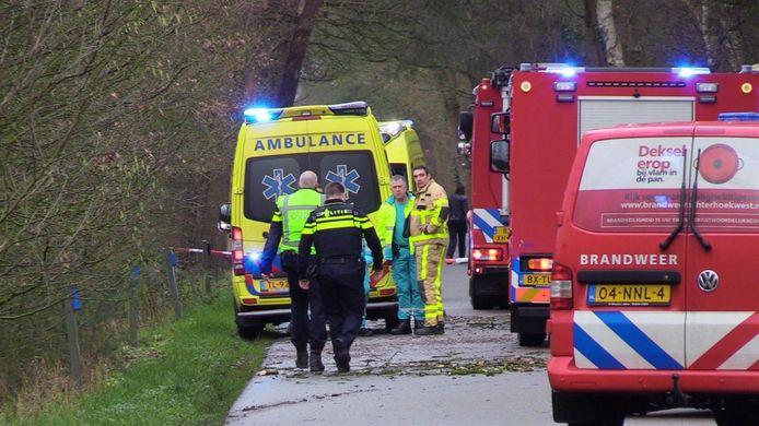 Een vrouw kwam vanmiddag om het leven bij een ongeluk met een vrachtwagen en een paardentrailer.