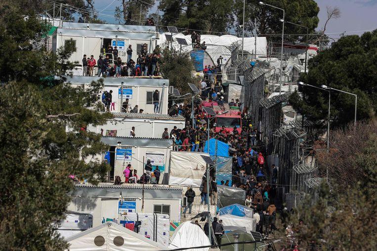 Een vluchtelingenkamp op Lesbos.