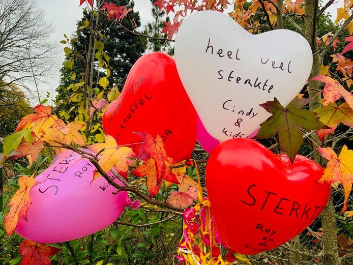 De Duitse Kathrin Bielfeldt vond deze opbeurende ballonnen in haar tuin en wil weten van wie ze afkomstig zijn.